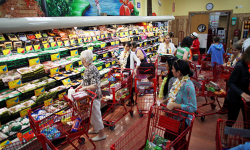 Shoppers in Trader Joe's